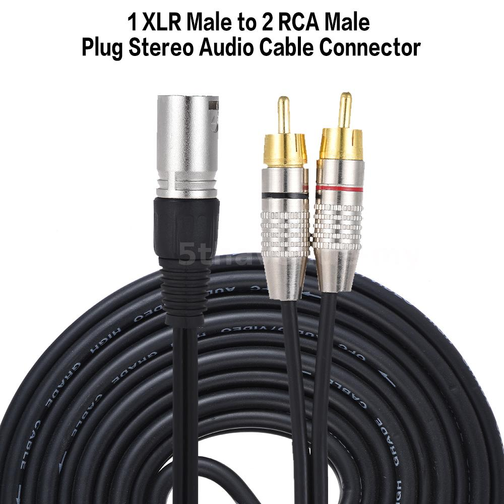 1 Xlr Male To 2 Rca Plug Stereo Audio Cable Connector Y Wiring Standard Refined Copper Wire Material Enhance Signal Clarity Provide Clear And Pure Sound